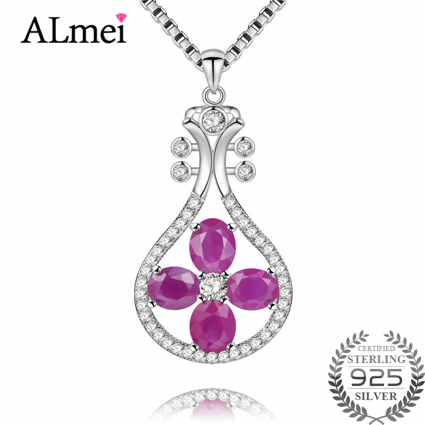 Almei 2 4ct Ruby Guitar Instruments Pendant Necklace Silver 925 Neck Jewelry Decorations for Women Birthday