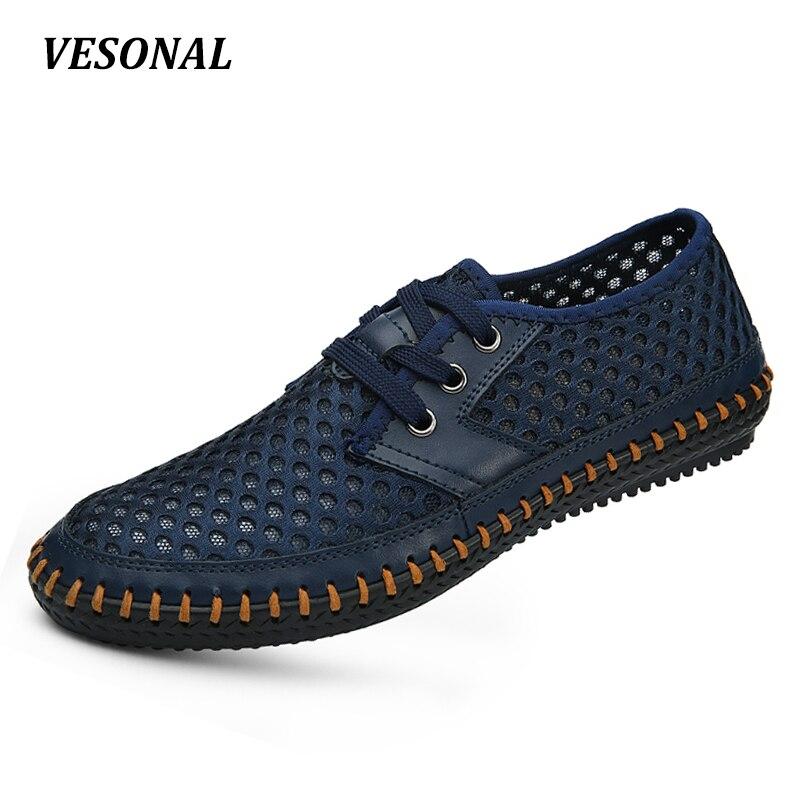 VESONAL 2017 Summer Footwaer Genuine Leather Breathable Flats Mesh Men Casual Shoes Handmade Soft Driving Walking
