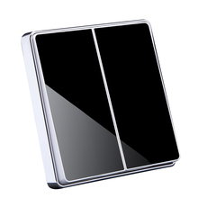 2 Gang Glass Mirror Surface Luxury Wall Switch 86mm Suqare Panel Light