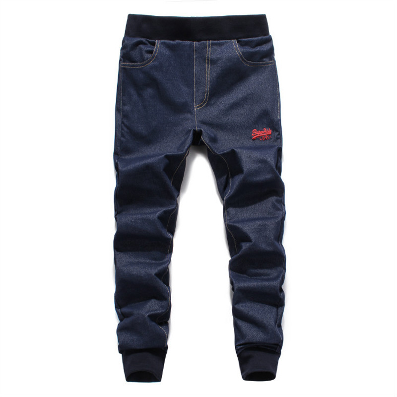 European American Street Fashion Men   Jeans   Dark Blue Color Slim Leg Open Stretch Pants High Quality Jogger   Jeans   Men Youth Wear
