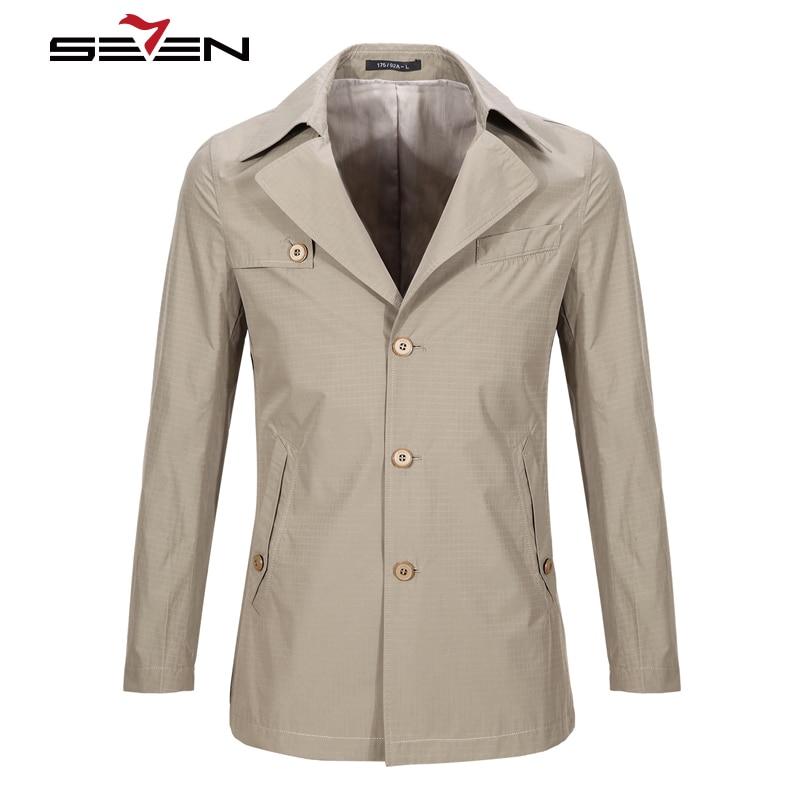 Seven7 Trench Coat Men Classic Mens Long Coat Masculino Trenchcoat Clothing Long Jackets & Coats British Style Overcoat708K21300