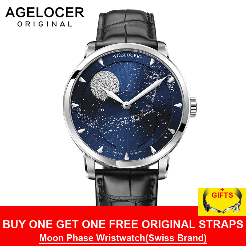 Moonphase Relógio AGELOCER 80 Suíça Marca Mens Relógios de Luxo Safira Energia de Reserva Do Vintage Horas Relógio Mecânico 6404A1