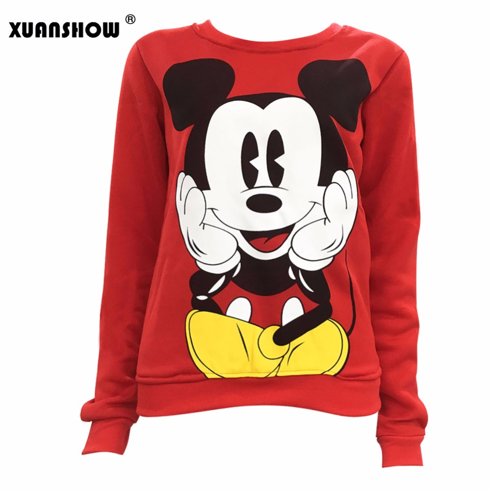 XUANSHOW 2018 Women Sweatshirts Hoodies Character Printed Casual Pullover Cute Jumpers Top Long Sleeve O-Neck Fleece Tops S-XXL(China)