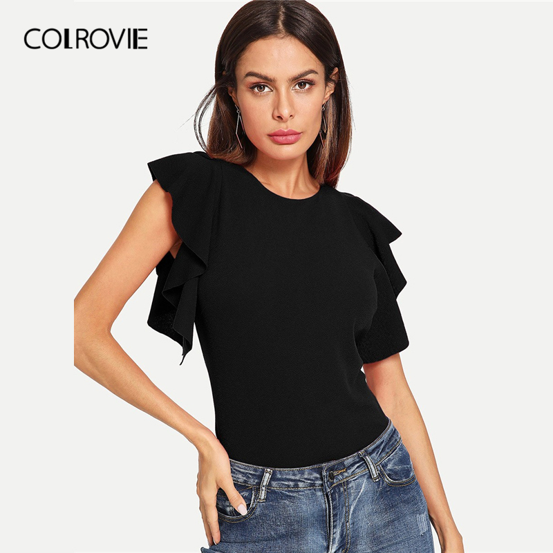 COLROVIE Black Solid Ruffle Armhole Form Fitted Elegant   Blouse     Shirts   Women 2019 Summer Butterfly Sleeve Office Ladies Tops