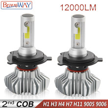 BraveWay LED Light Bulb for Car H4 LED H7 Headlight Lamps Running Lights H7 H11 H1 LED Bulb HB3 BH4 9005 9006 12000LM 12V Moto(China)