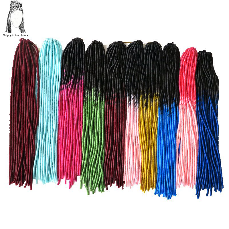 Desire for hair 1pack 20inch 100g 20strands heat resistant synthetic ombre color crochet soft dreadlock hair extensions