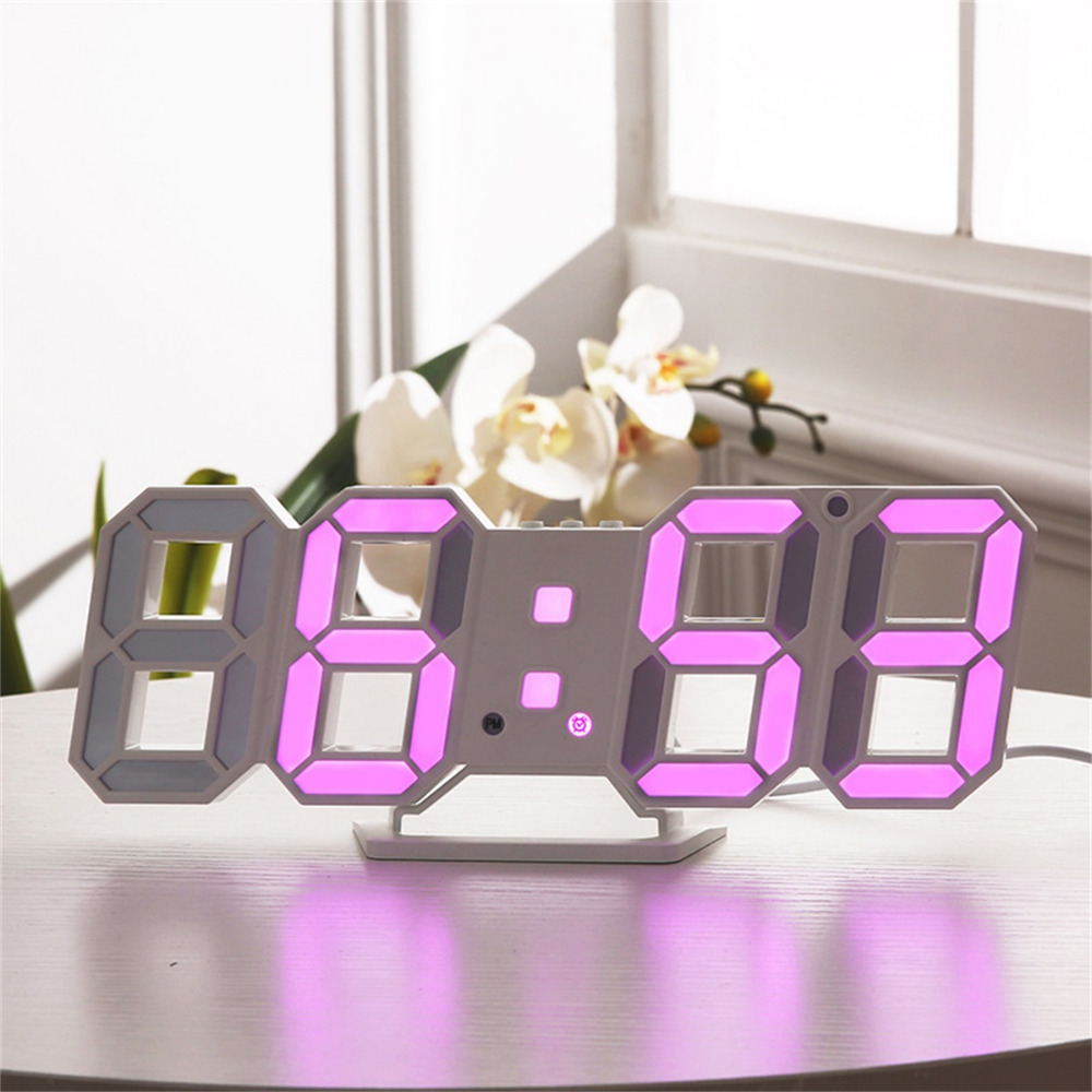 Colorful 3D LED Digital Wall Clocks 24/12 Hours Display Desktop Table Alarm Clocks With Night Light Snooze Function For Bedroom image