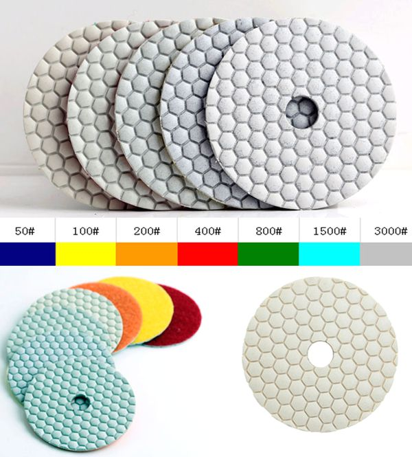 """Almohadillas de pulido en seco de diamante de granito de 400 # 4 """"(100 mm), con calidad superior y precio competitivo DC-WHPP02"""