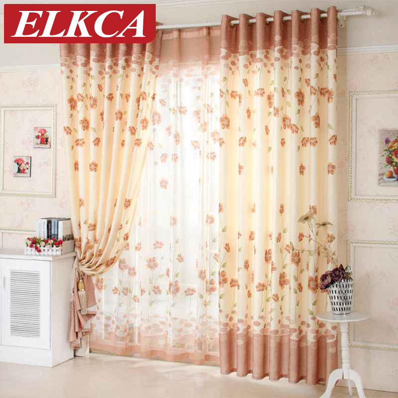 Floral Golden Window Curtains For Living Room Bedroom Kitchen Luxury Curtains Kids Ready Made