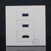 Placa de Cara na parede 3 Portas Dupla 3.0 linha de extensão de Dados USB Soquete de Parede & One 2.0 HDMI Placa De Saída