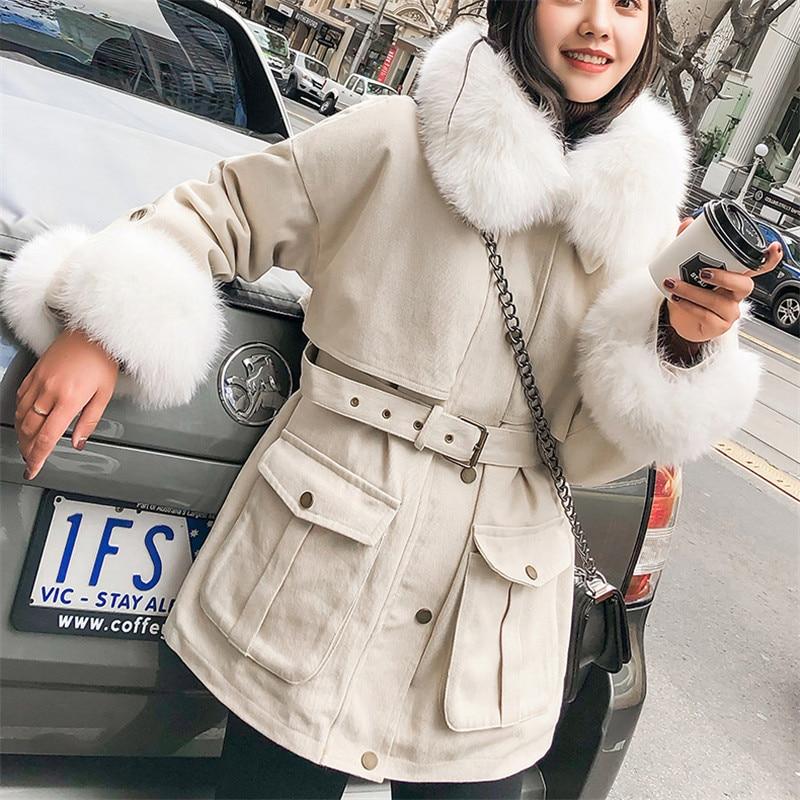 White Outillage Col Coton Lâche Grand Parka Épais Yy083 Femmes Manteau Survêtement Femme Hiver De 2018 Nouveau Fourrure S41awx