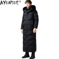 AYUNSUE зимняя куртка на гусином пуху мужское длинное пальто мужской воротник из меха енота плюс размер теплые мужские куртки Мужская ветровка