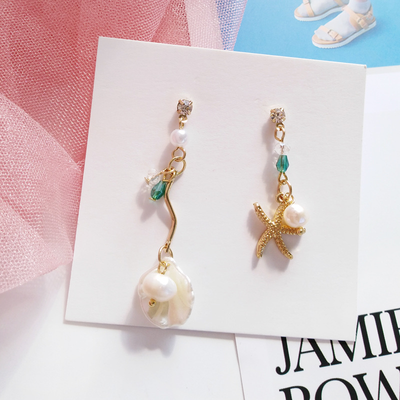 Beautiful Starfish Pearls Asymmetric Charm Earrings Rhinestone Shell Clip on Earrings No Pierced(China)