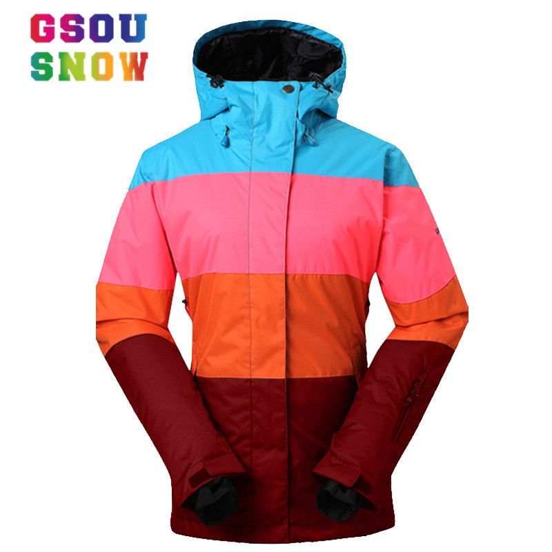 GSOU SNOW Brand Ski Jackets Women Winter Snow Coats Patchwork Style Ladies Snowboard Jacket Warmth Thicken Waterproof Ski Wear new winter women bomber jackets ladies cropped coats slim fit female coats with badge women outerwears