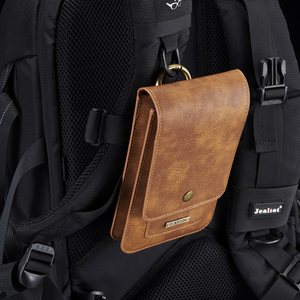 Image 5 - Multifunction 5.2~6.5 Leather Phone Pouch Bags Hook Loop Belt Clip Case for Samsung Note 10 9 8 Wallet Bags for iPhone 11 XR