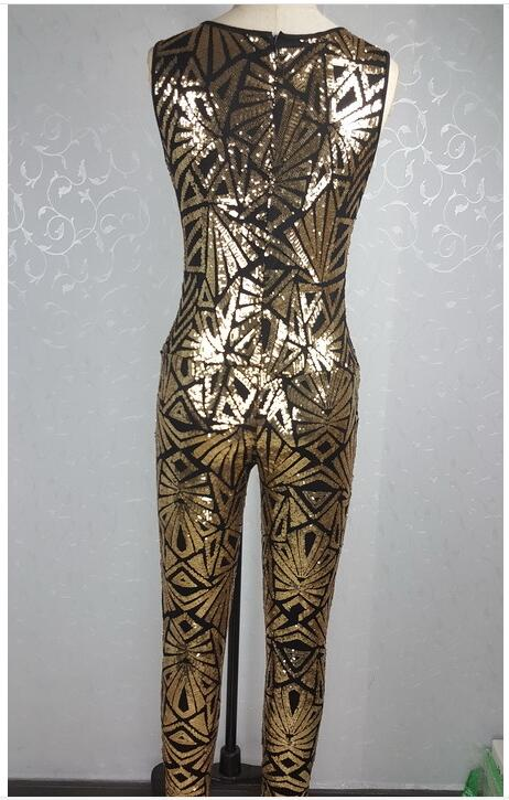 83726032845a 2016 hot fashion women gold sequin jumpsuit Women sexy bodysuit celebrity  catsuit playsuit-in Jumpsuits from Women s Clothing   Accessories on ...