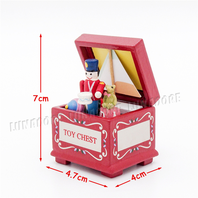 Odoria 1:12 Miniature Vintage Toy Chest/Box Red With Soldier Ship ...