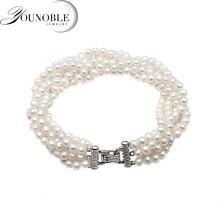 Beautiful Real freshwater pearl bracelet women,multi layer strand bracelets female birthday gift