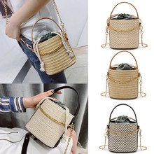 2018 New Women s Straw Shoulder Tote Bag Bucket Summer Bags Women Chain  Small Crossbody High Quality Bags Rattan Bolsa Feminina 620ace4819457