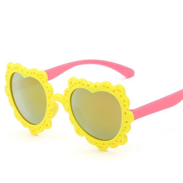 Laura Fadas Fashion Flor Projeto da Forma Do Coração Óculos de Sol Óculos  de Proteção UV400 244c11f7de
