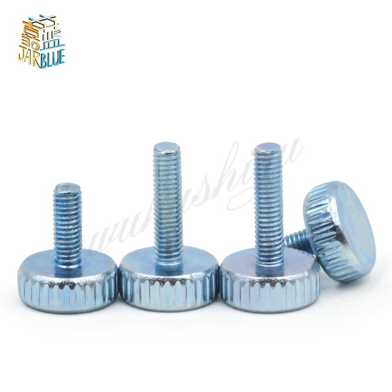 10Pcs DIN653 GB835 M3 M4 M5 Knurling Flat Head Knurled Thumb Screw Hand Tighten Computer Screws 10pcs m3 a2 304 thumb screws plain type metric knurled head screws hw155