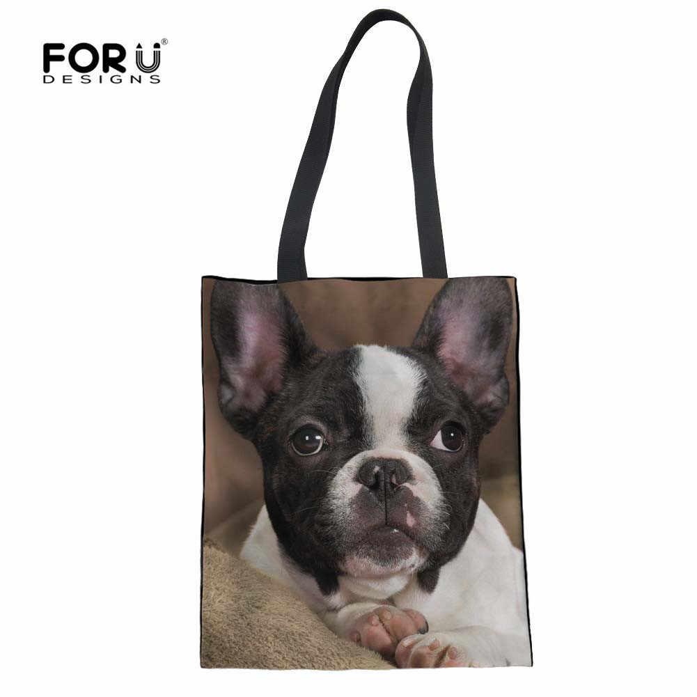 FORUDESIGNS/женская сумка на плечо с принтом французского бульдога, льняная женская большая женская сумка, Женская Дамская Складная сумка, большие сумки для покупок