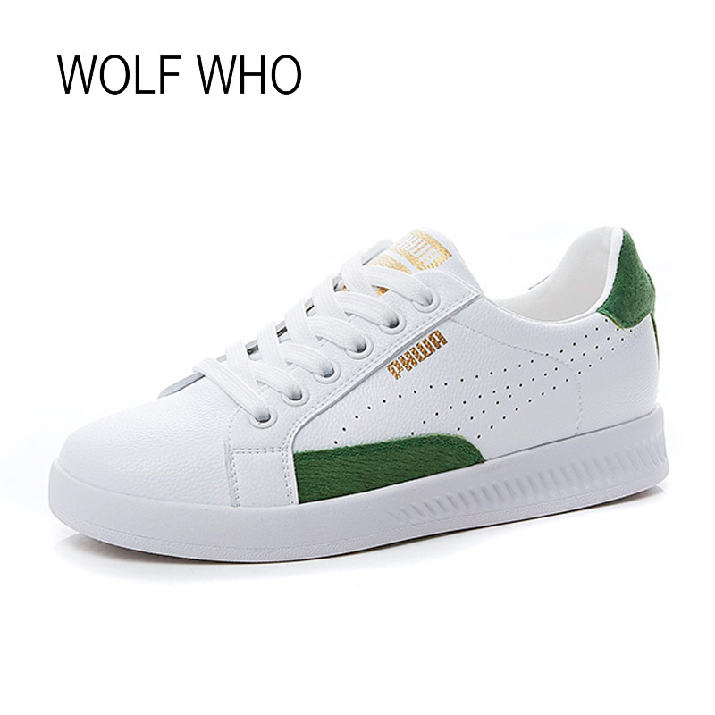 WOLF WHO 2018 Spring Autumn White Women Sneakers Leather Lady Shoes Female Krasovki Tenis Femininos Casual Basket Femme h-448 wolf who genuine leather women shoes ladies spring krasovki slipony slip on loafers woman tenis feminino casual h 049