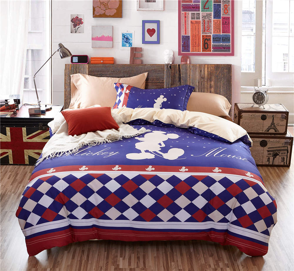 Mickey Mouse Gemoetric 3D Printed Bedding Sets for Boys Bedroom Decor Cotton Bedspread Quilt Duvet Covers Twin Full Queen Size