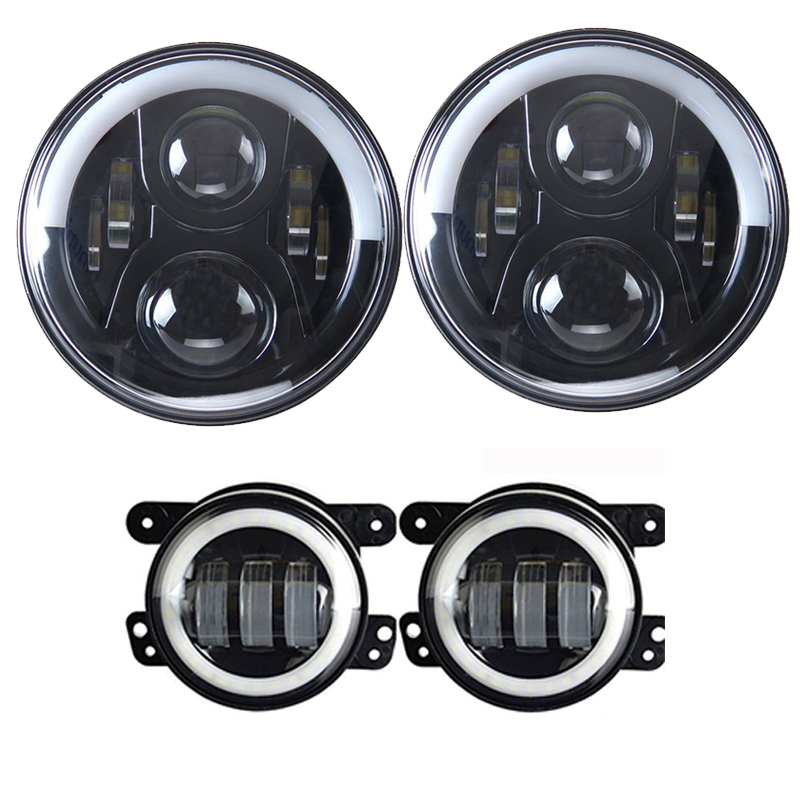 TNOOG 60W for Jeep Wrangler JK LJ 7inch Daymaker LED Headlights/ White DRL/Amber Turn Signal + 4 inch LED Fog Lights White DRL blue projector lens 130w 7 inch led headlights for jeep wrangler jk lj jku 7inch led headlight with white drl amber signal