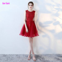 Glamorous Red Lace Evening Dresses 2017 New O Neck Tulle Built In Bra A Line Knee