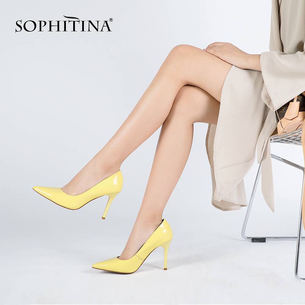 SOPHITINA Woman Elegant Pumps Sheepskin High Thin Heels Sexy Pointed Toe Pumps Basic Model Party Wedding Career Lady Shoes D30