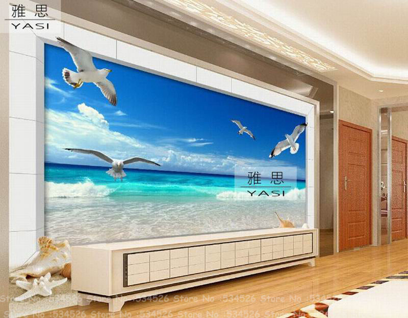 plage oiseaux de mer photo papier peint murale de l 39 environnement papier peint le conte de f es. Black Bedroom Furniture Sets. Home Design Ideas