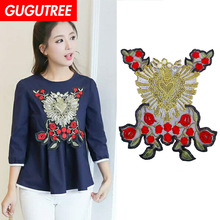 GUGUTREE embroidery big peony patches flower badges applique for clothing ZM-173