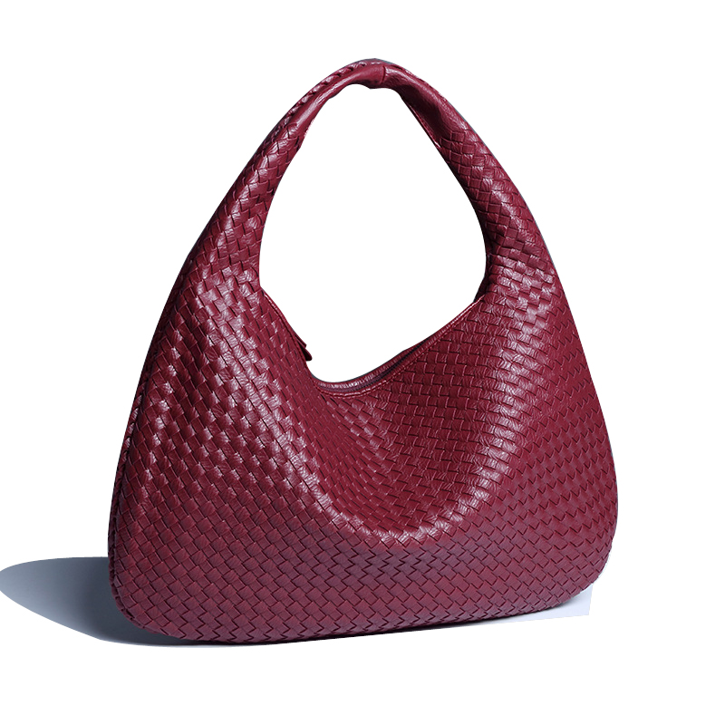 New High Quality Women Pu Leather Handbag Handmade Weavw Shoulder Bag Knitting Causal Grid Hobo Sape Retro Totes Large Capacity luxury brand women split leather handbag high quality pu leather shoulder bag large capacity totes cattle split hand bag for mom