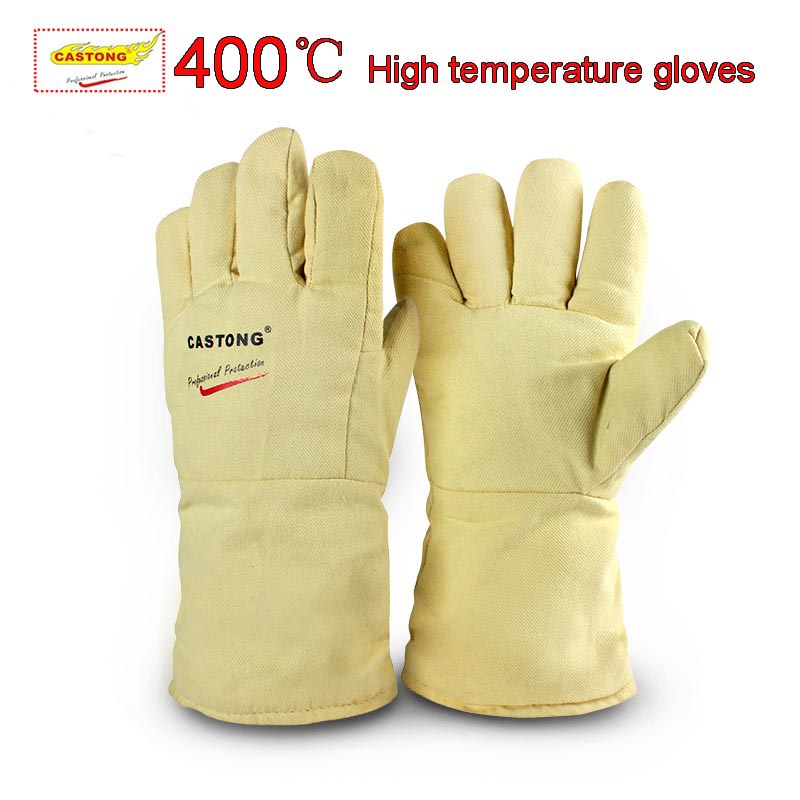 CASTONG 400 degree High temperature gloves Aramid Anti-scald gloves flexible soft High temperature resistant gloves цена