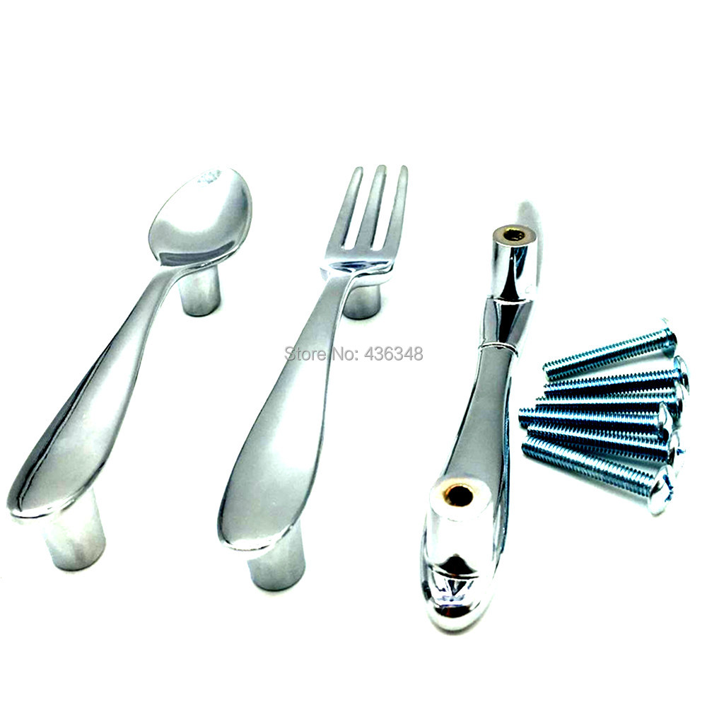 Door Pulls 3pcs Modern Kitchen Cabinet Cupboard Door Pulls Drawer Handles Spoon Fork Knife Zinc Alloy Closet Drawer Pull Handles Knobs In Tool Parts From