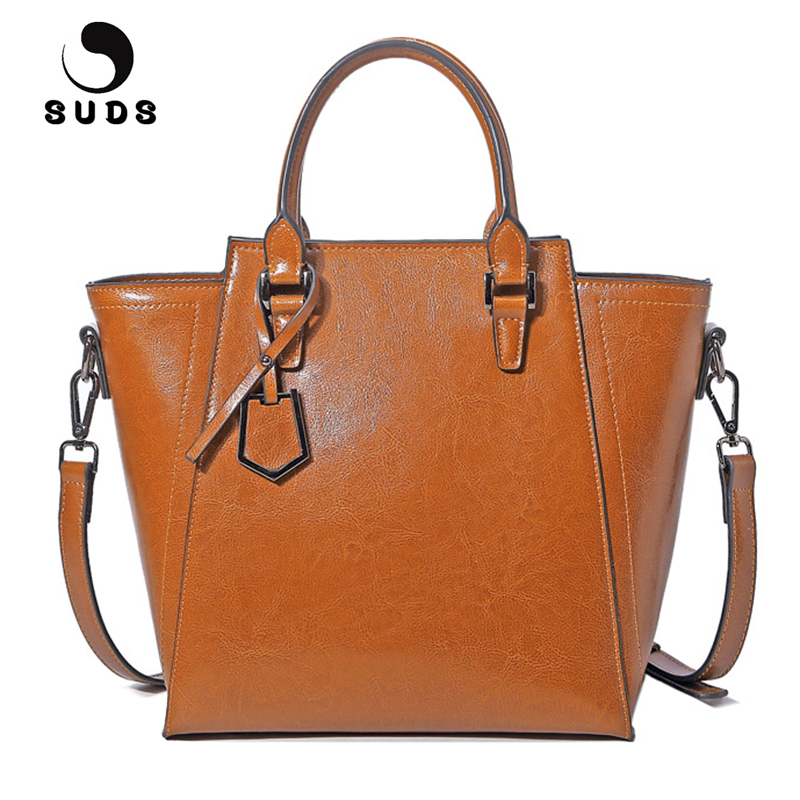 SUDS Brand Women Vintage Genuine Leather Handbag Ladies Luxury Designer High Quality Crossbody Bag Female Cow Leather Tote Bags 2017 new charming designer genuine leather luxury women handbag high quality ladies hobo bags shoulder crossbody bolsa feminina