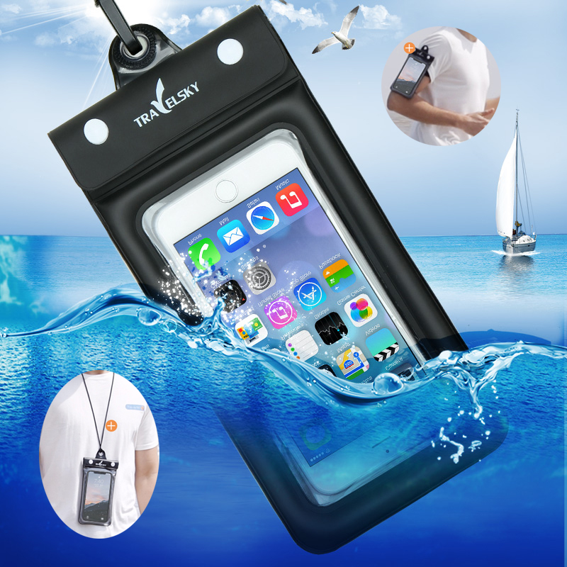 6.2 Inch Float Airbag <font><b>Waterproof</b></font> Swimming Bag Mobile Phone Case Cover Dry Pouch Universal Diving Drifting Riving Trekking Bags image