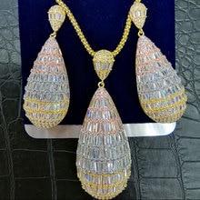 GODKI Luxe Water Drop Cubic Zirkoon Nigeriaanse Ketting Earring Sieraden Sets Voor Vrouwen Wedding Indiase Dubai Bruids Sieraden Sets