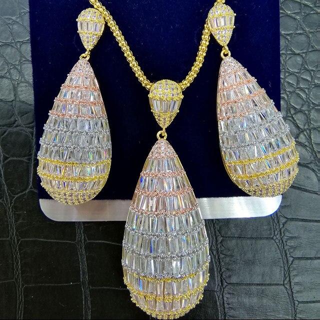 GODKI luksusowy kropla wody Cubic cyrkon naszyjnik nigerii zestaw kolczyków dla kobiet ślub Indian Dubai zestawy biżuterii dla nowożeńców