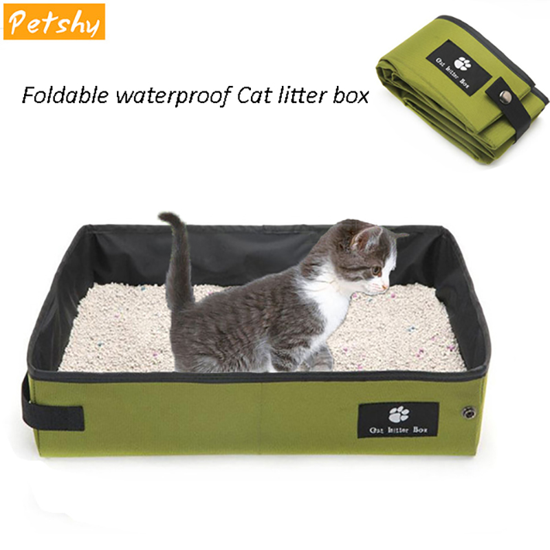 Petshy Cat Tray Foldable Pet Cat Litter Boxes Box Portable Waterproof Semi Closed Anti-splash Cats Bedpans Kitten Puppy Toilet 翻轉 貓 砂 盆