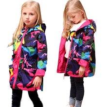 2017 Girls Clothes Girl Jackets Children Coat Kids Tops Outwear Teengers Camo Hooded Windbreaker Thin Waterproof