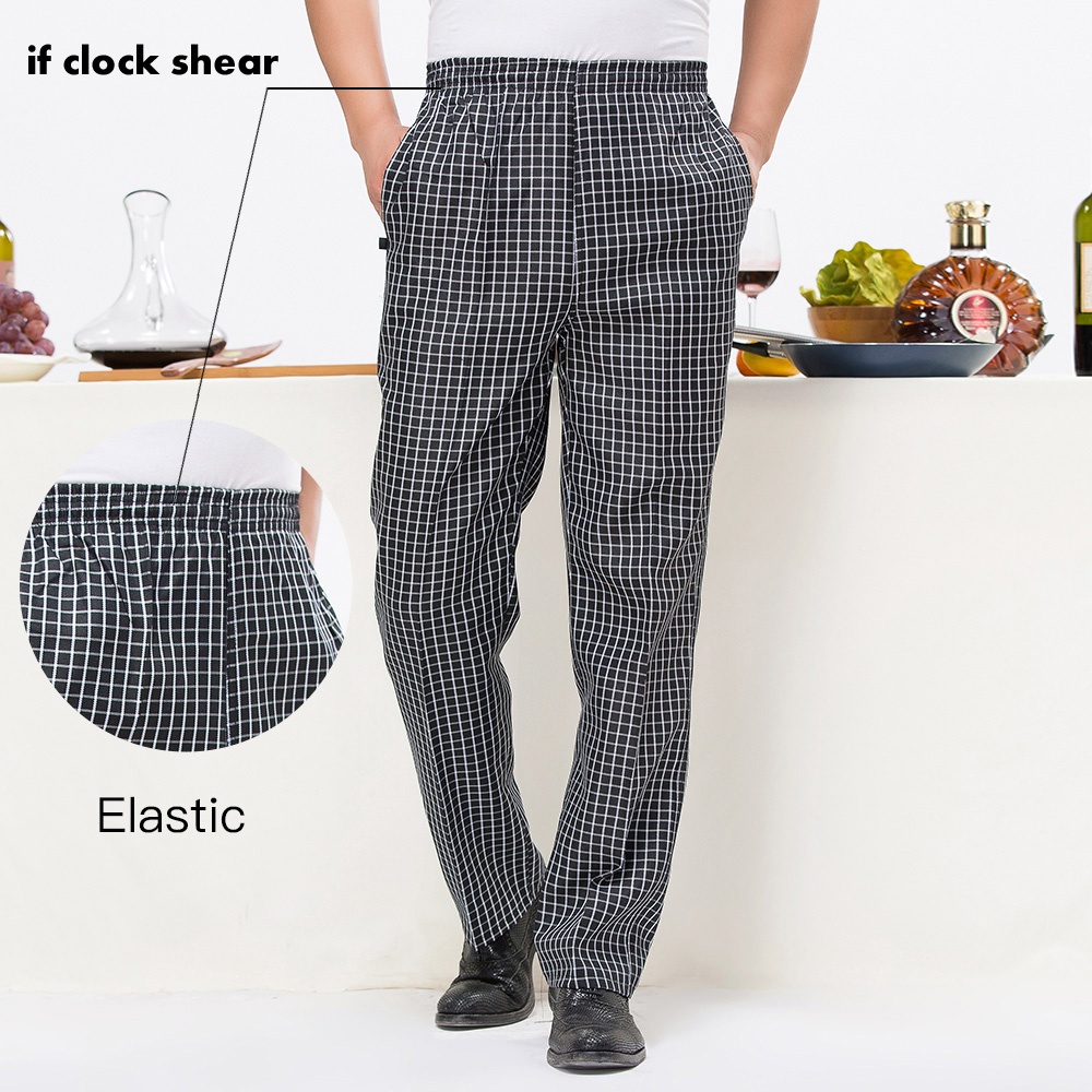 IF New High Quality Chef Uniforms Kitchen Cooker Work Clothes Kitchen Pants Hotel Restaurant Stripe Elastic Trousers Zebra Pants