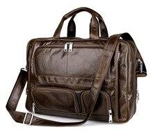17 Inch Laptop Briefcase Genuine Leather Cowhide Men Zipper Porta Bag Handbag Business Bags Ma Vintage Shoulder Messenger