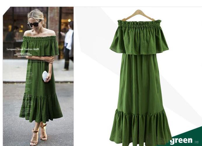JOYINPARTY Plus Size summer dress 2017 Bohemian boho style robe Sexy Off Shoulder Ruffle maxi dress casual long dress