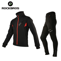 ROCKBROS Cycling Jersey Sets Winter Thermal Fleece Cycling Clothing Windproof Riding Bicycle Reflective Jacket Sportswear Pants