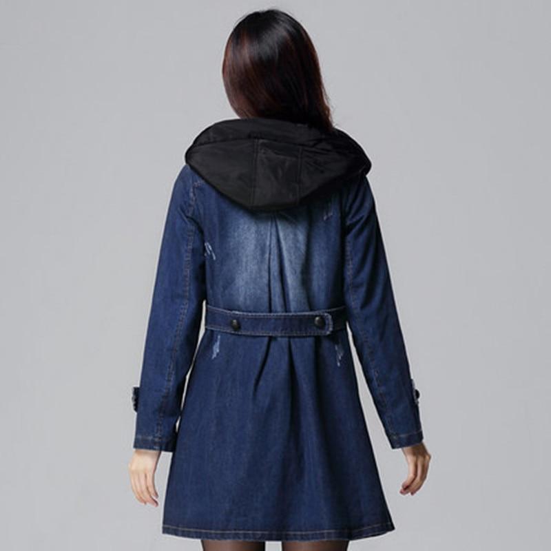 La Automne Capuche Hiver Femmes Épais Coton Denim Outwear Robes À Grand Taille 5xl Jeans Blue Mince Plus Nouveau Trench Manteau Pour Mode MGUzqSVp