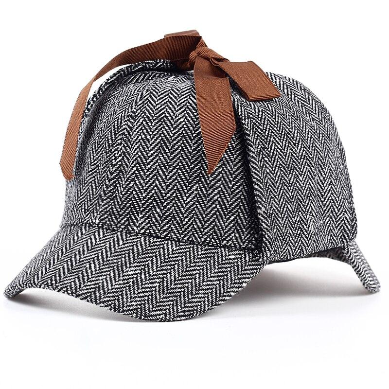 46591956ac3 TUNICA 2017 High Quality Cosplay Cap Detective Sherlock cotton Holmes Deerstalker  Hat Gray Caps New Berets