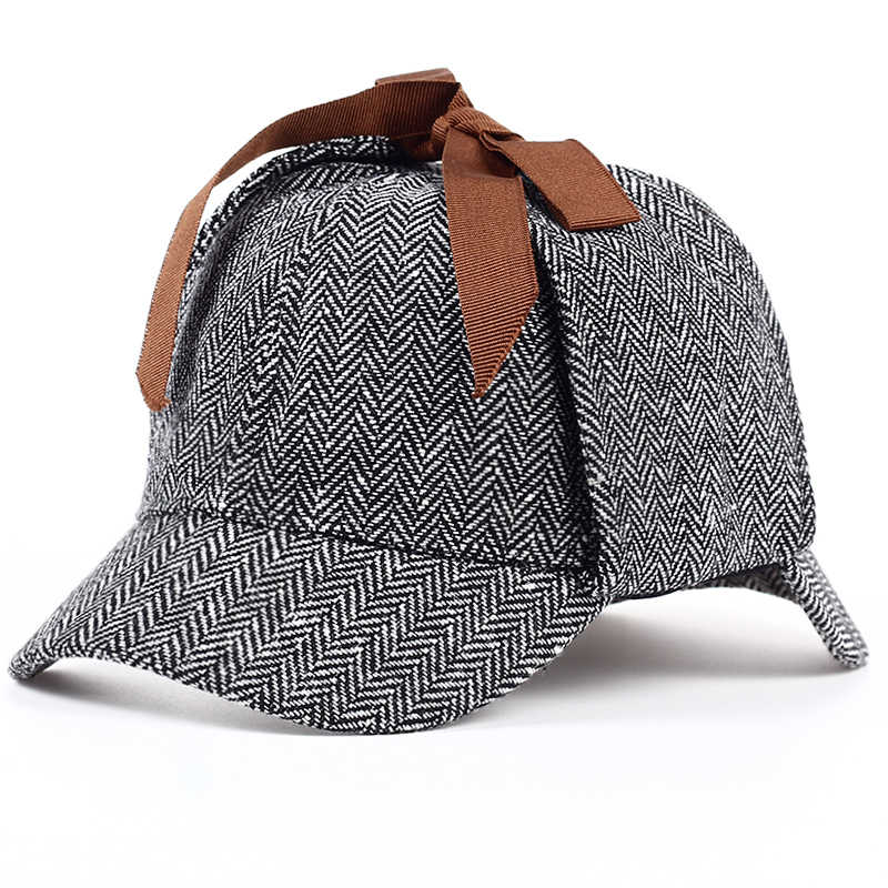 TUNICA 2017 High Quality Cosplay Cap Detective Sherlock cotton Holmes  Deerstalker Hat Gray Caps New Berets dd224ff61b9d
