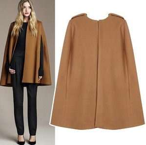 Free Post Mail Shipping Women Woolen Cloak, Classic Concise Design O neck Cloak